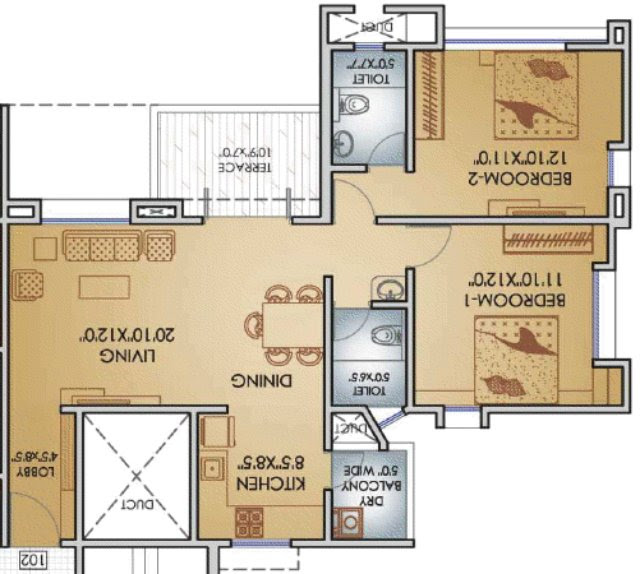 Teerth Towers 2 BHK Flat 779 Carpet+DryBalcony+Terrace