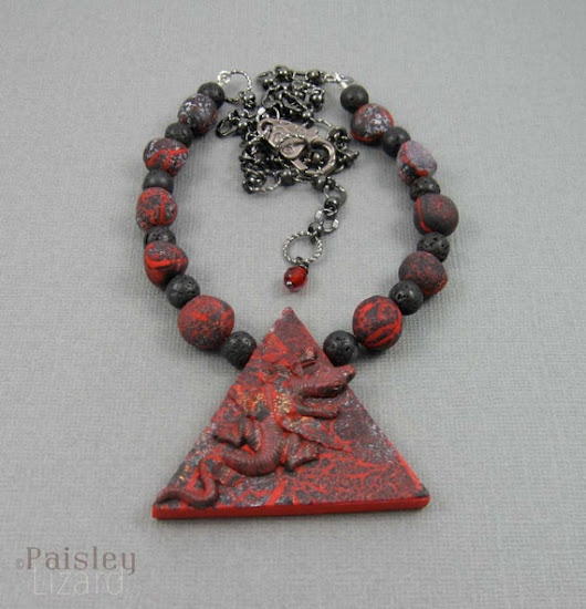 Fire Element Lizard necklace mixed media by PaisleyLizardDesigns