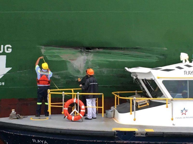 Damage to the MV Xin Fei Zhou.