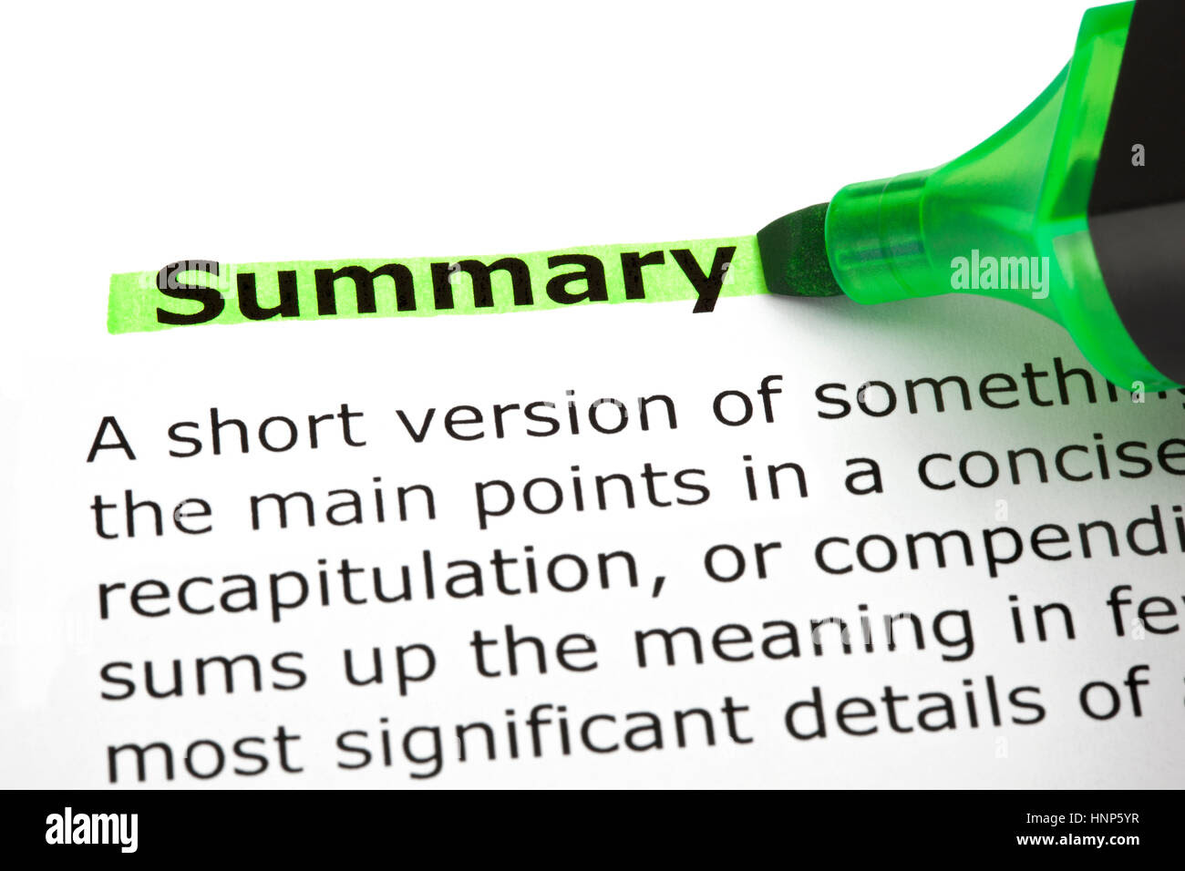 dictionary definition of the word summary highlighted with green marker HNP5YR