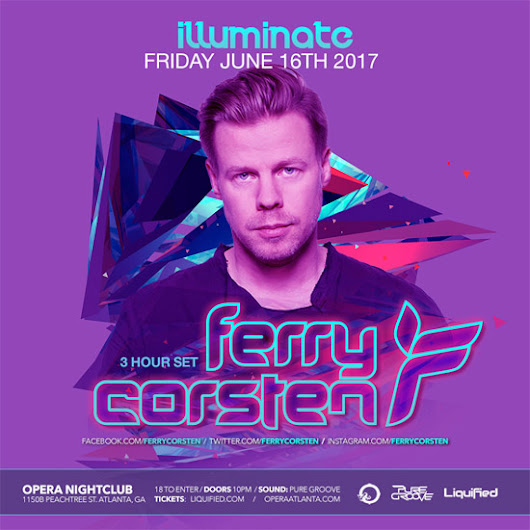 Discount Pre-Sale Tickets for Ferry Corsten at Opera Atlanta - June 16th, 2017 - Use Promocode SINNER