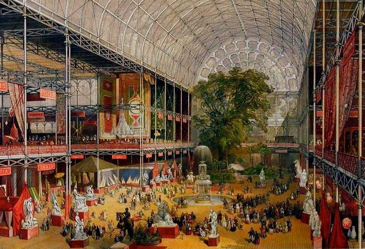 El interior del Palacio de Cristal durante la Exposición Universal de Londres de 1851
