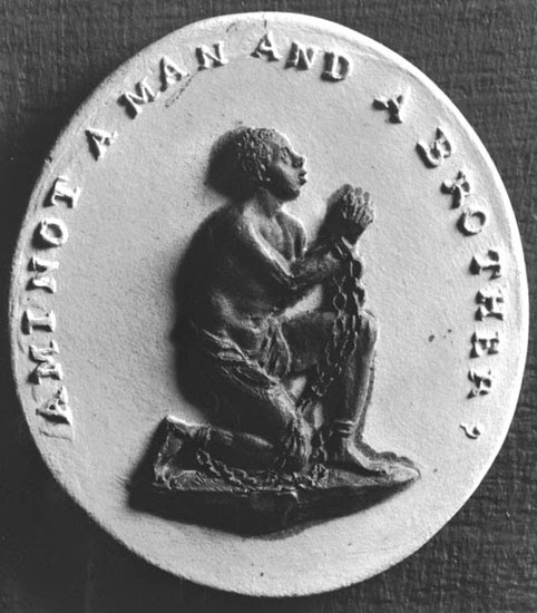 "An engraving used by anti-slavery campaigners in the 1700s. It reads ""Am I Not A Man And A Brother?"""