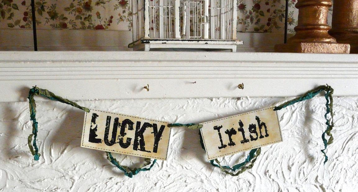 Happy St Patrick's Day Lucky Irish digital banner pdf - party garland green 2 sheet collage