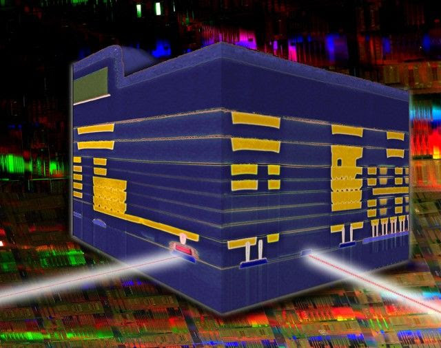 IBM's silicon nanophotonic modulator/photodetector chip, with integrated electrical components