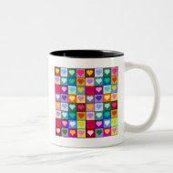Multicolor Heart Squares Two-Tone Coffee Mug