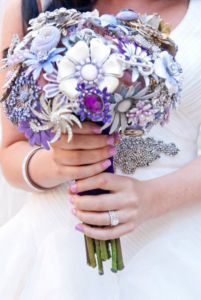 Custom Large Bridal Bouquet - Stunning Silk Flowers & Enamel Brooches - Made to Order
