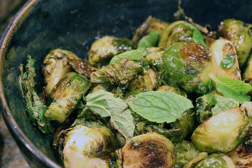 Roasted brussel sprouts with mint and sambal olek