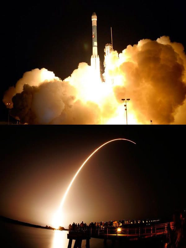 The Delta II rocket lifts off from its Cape Canaveral launch pad on August 4, 2007...sending the Phoenix Mars lander on its way to the Red Planet.