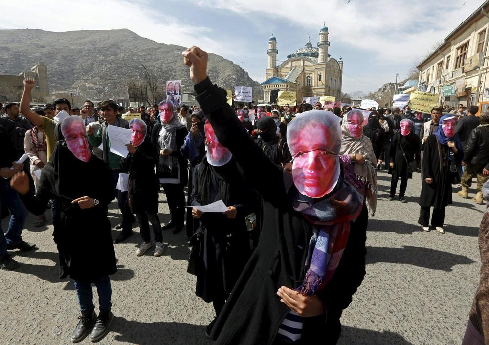 Women in Kabul march in protest of the killing of the woman known only as Farkhunda, who was publicly beaten to deathafter she wasfalsely accused of burning a Koran.