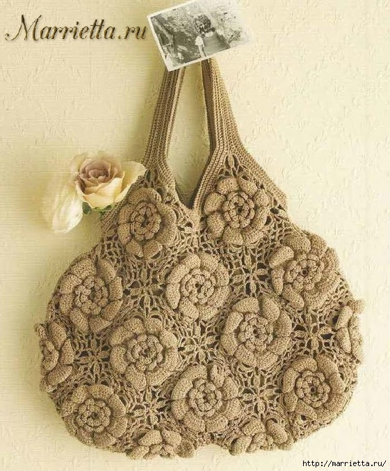 Crochet bag of floral motifs (1) (561x677, 302Kb)