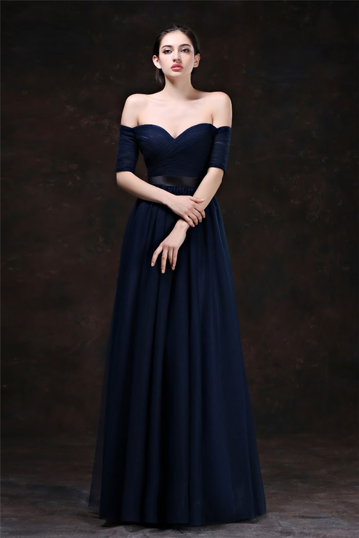 Africa navy blue prom dresses off the shoulder china