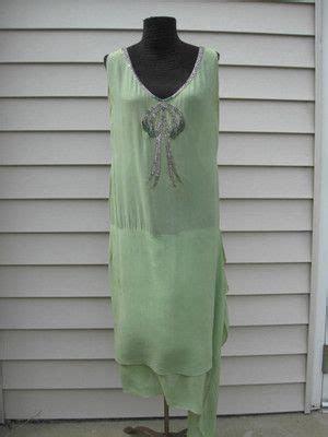 pale green silk  flapper dress drop waist glass