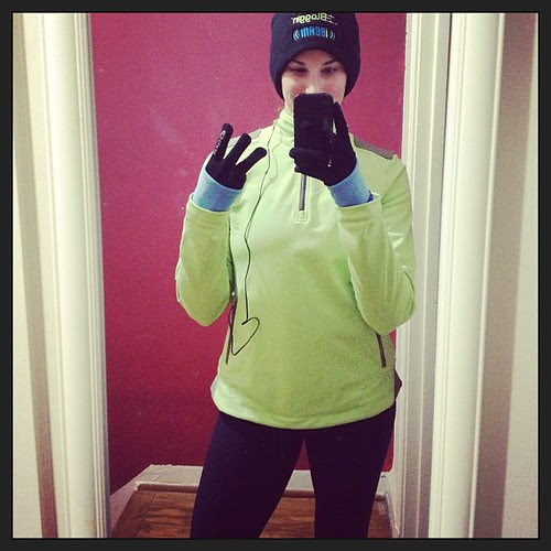 Three miles with temps in the teens. Thank god for @underarmour cold gear!