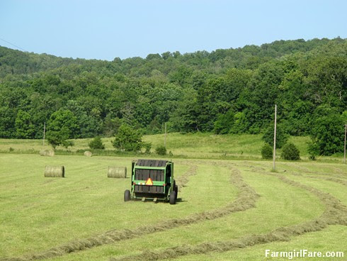 (30-4) Yep, we've crossed over to the round side with a 25-year-old, new (last year) to us small John Deere round hay baler - FarmgirlFare.com