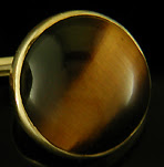 George Street Tiger Eye cufflinks crafted in 14kt gold. (J9133)