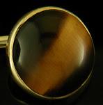 George Street Tiger Eye cufflinks crafted in 14kt gold. (J9133)