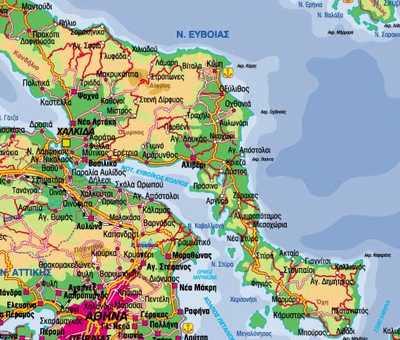 Χάρτης του Νομού Εύβοιας