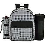Picnic at Ascot Four Person Backpack with Blanket - Houndstooth