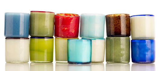 Scented Candles In Hand Blown Mexican Glass