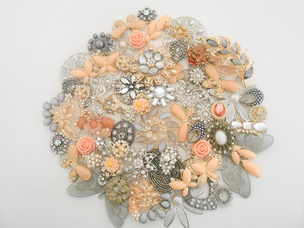 DIY Bridal Brooch Jewelry Bouquet PEACH FROST kit 65 Vintage Style Jewels Antiqued Silver Peach Gray Pearl