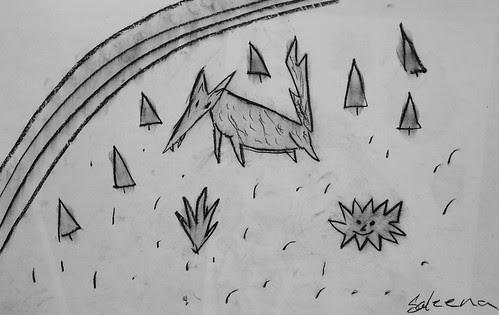 Charcoal Drawing by/Dessin au fusain par Celena Coon Come