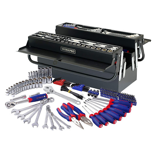 WORKPRO 183-Piece Tool Set with Cantilever Tool Box in $74.99, Free Shipping