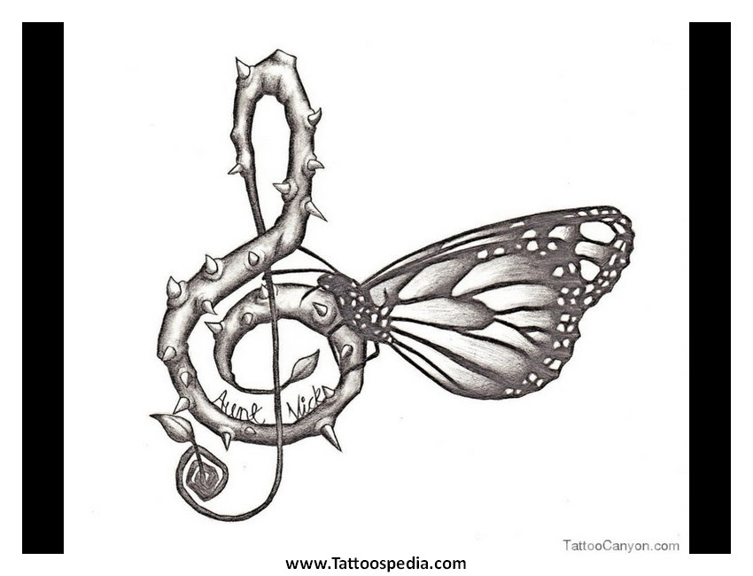 Butterfly Tattoo Designs With Music Notes 2