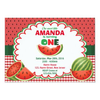 Watermelon 1st Birthday Invitation