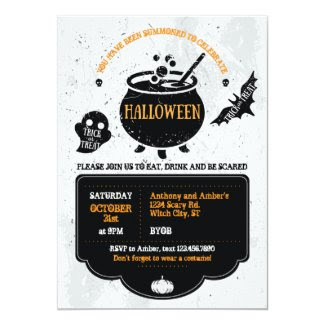 Witch's Cauldron Halloween Party Invitation