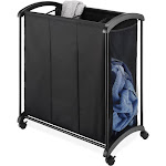 Whitmor 3-Section Laundry Sorter with Wheels, Black