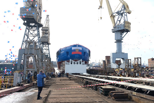 Nuclear icebreaker «Sibir» floated out