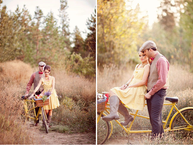 engagement, bicycle with flowers in basket