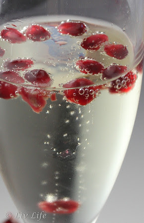Champagne bubble with pomegranate Aerials (seeds)