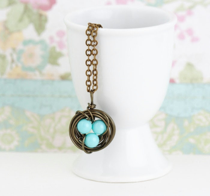 Bird Nest Necklace With Aqua Robins Eggs - Gift For Mom, Gift For Her, Free Shipping