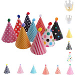 NUOLUX 11pcs Party Hats Lovely Cake Cone Birthday Paper with Pom Poms
