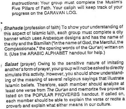 Class assignment in California school teaching about Islam
