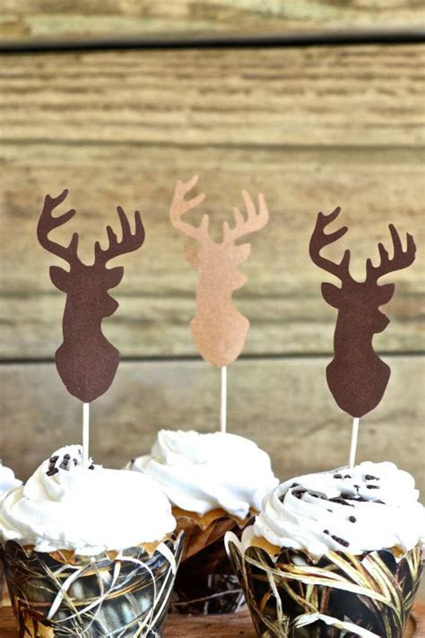 Deer Silhouette Cupcake Toppers bucks in by
