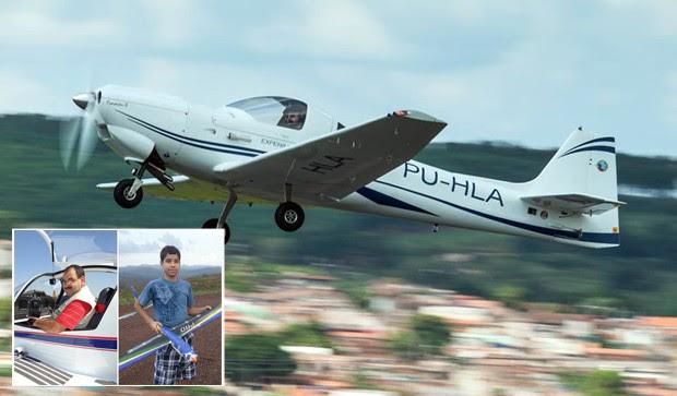 Montagem mostra aeronave que caiu e vítimas que morreram em acidente em Guapé (Foto: Reprodução Facebook)