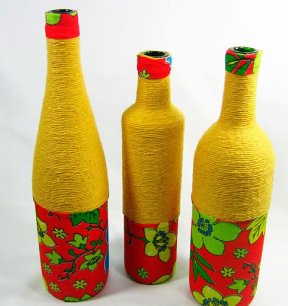 Como enfeitar garrafas e potes com barbante 015