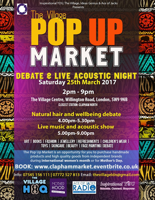 Inspirational YOU – Pop Up Market, Natural hair debate & Acoustic Evening (Int. Women's Month/Pre-Mothering Sunday) – SW9