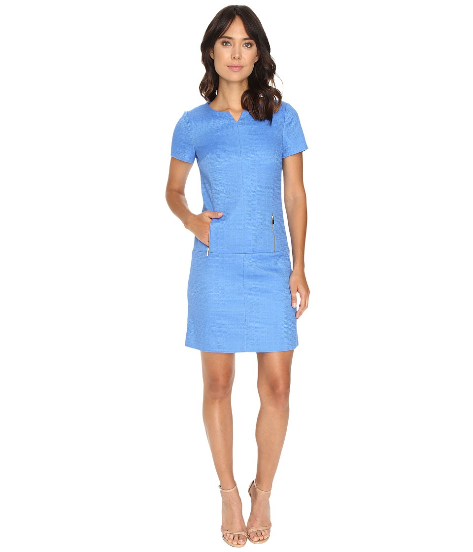 Tahari by ASL - Dropped Waist Textured Shift Dress w\/ Pockets (Lake Blue) Women's Dress