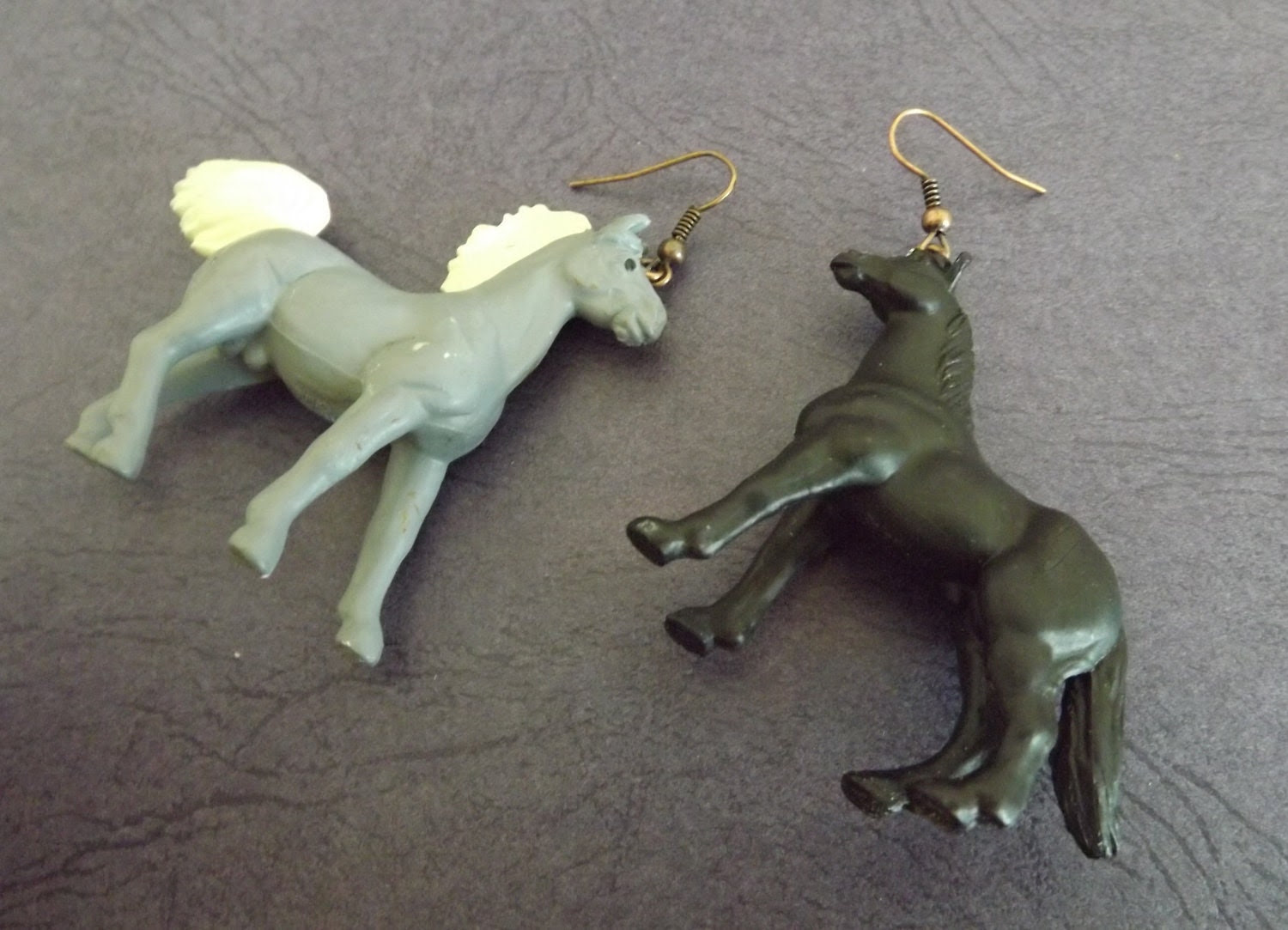 Toy Horse Earrings Playing Upcycled Found Objects Copper Plate Loop Ear Ring - TursiArt
