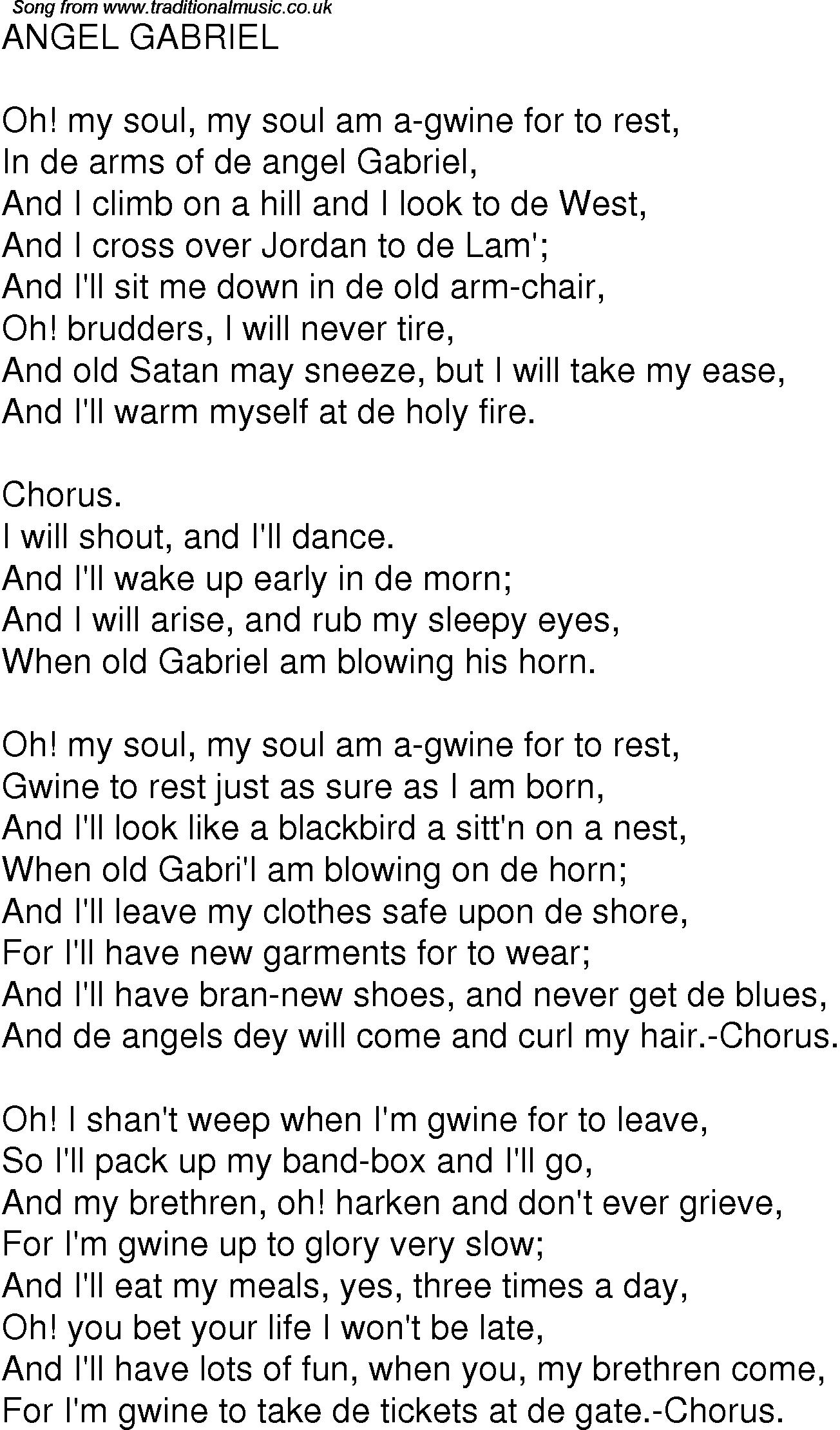 Old Time Song Lyrics For 02 Angel Gabriel