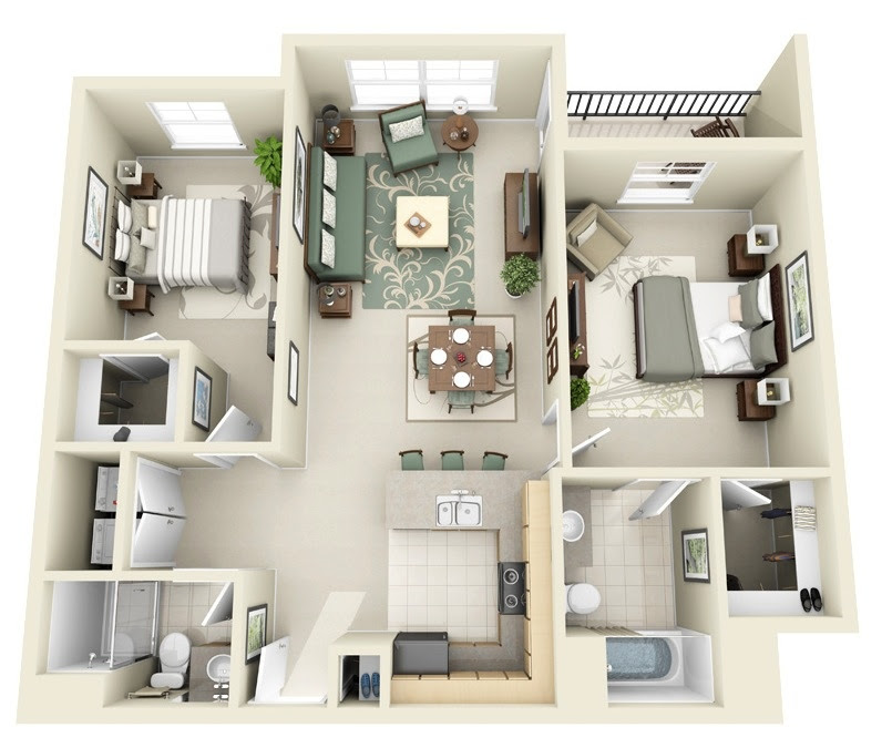 Home Architec Ideas Two Room One Kitchen Home Design