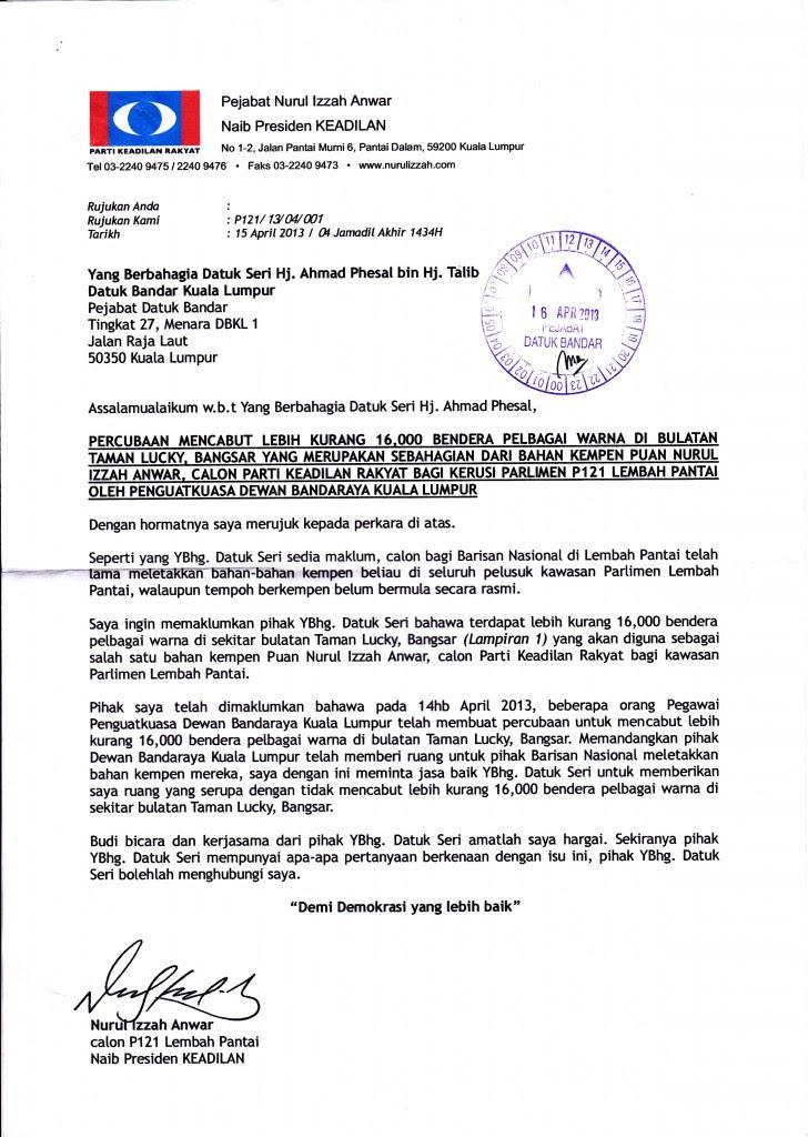 15 april 2013 surat aduan kepada datuk bandar kuala lumpur berkenaan percubaan untuk mencabut