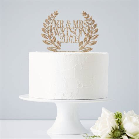personalised wreath wedding cake topper by sophia victoria