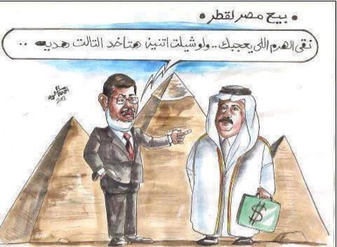 """A widely shared cartoon in Egypt depicting President Morsi telling Qatar's Emir """"Choose the Pyramid that you like. If you buy two, you'll get the third for free!"""""""