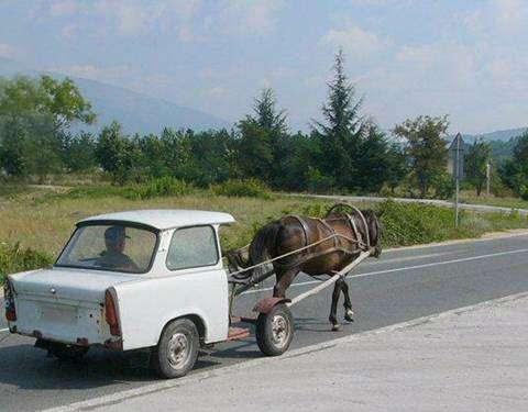 Funny Pictures of Horse Pulling Car Wagon