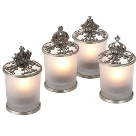 Antique Pewter Crown Tealight Candle Holder [291504 Pewter